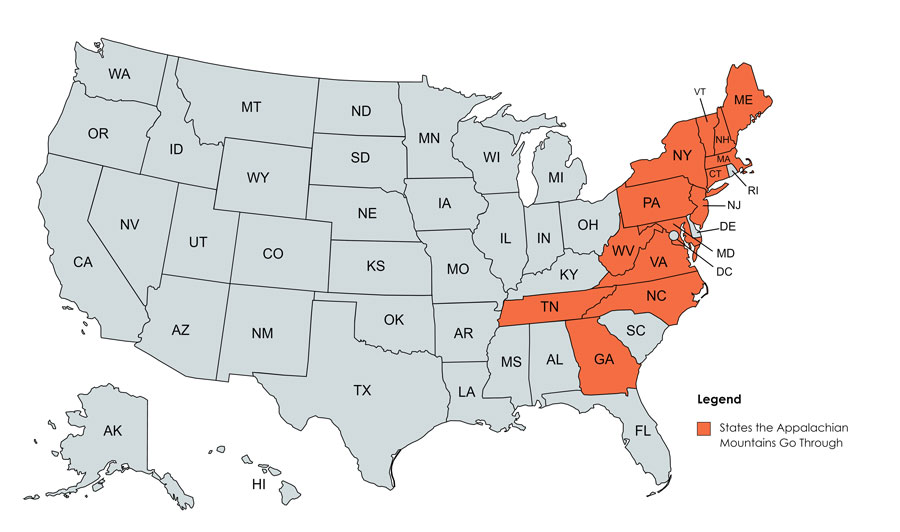 Map of the states that the Appalachian Mountains go through