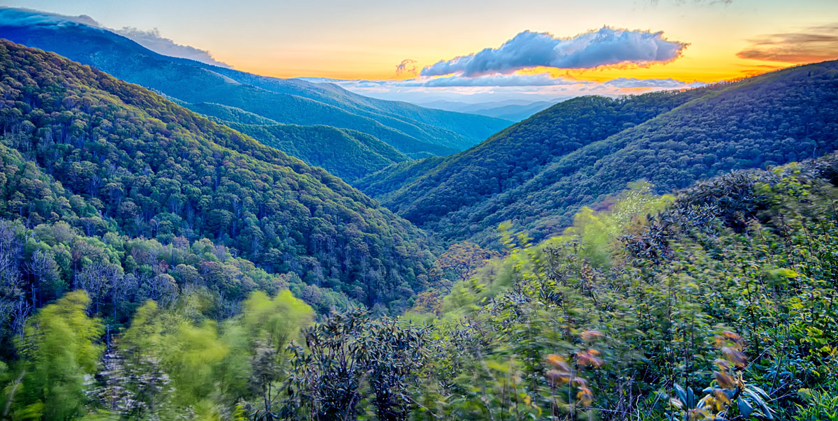 View of the Appalachian Mountains and the colorful sky during sunset