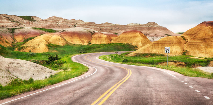 View of geologic formation on Badlands