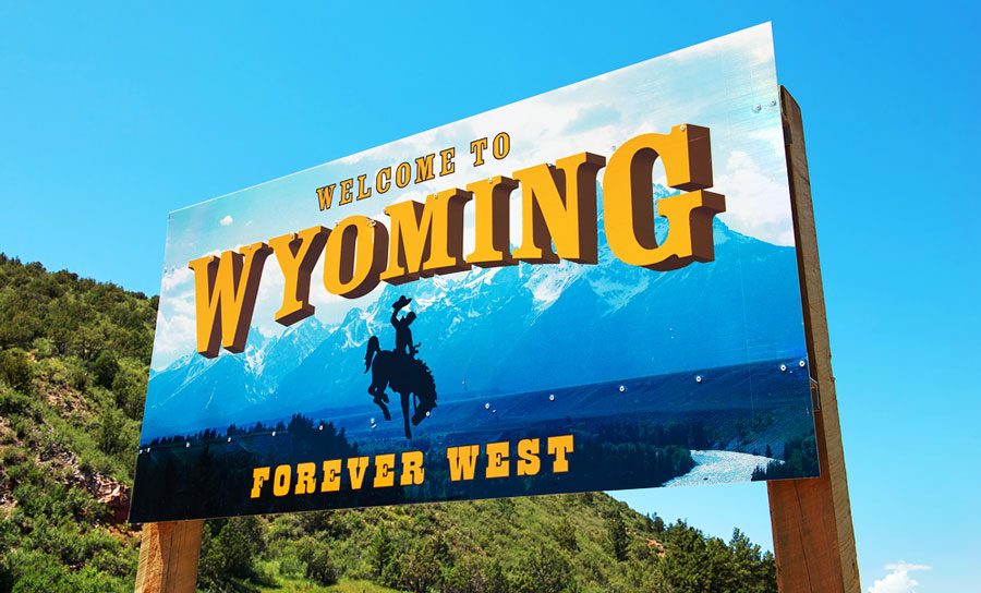 The welcome sign in Wyoming