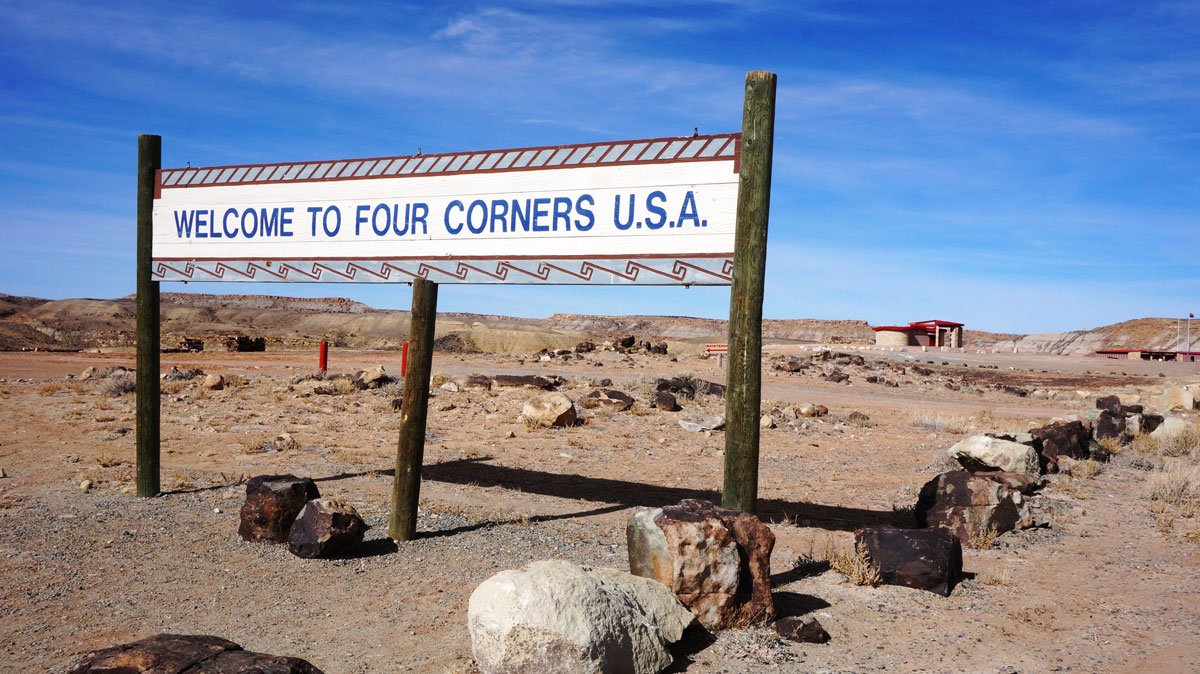 View of a welcome sign to Four Corners U.S.A.