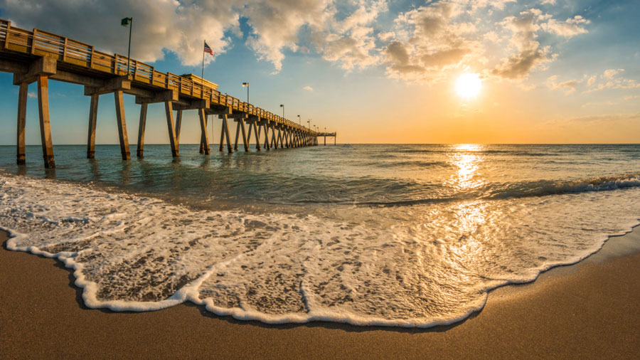 View of a pier on the Gulf of Mexico
