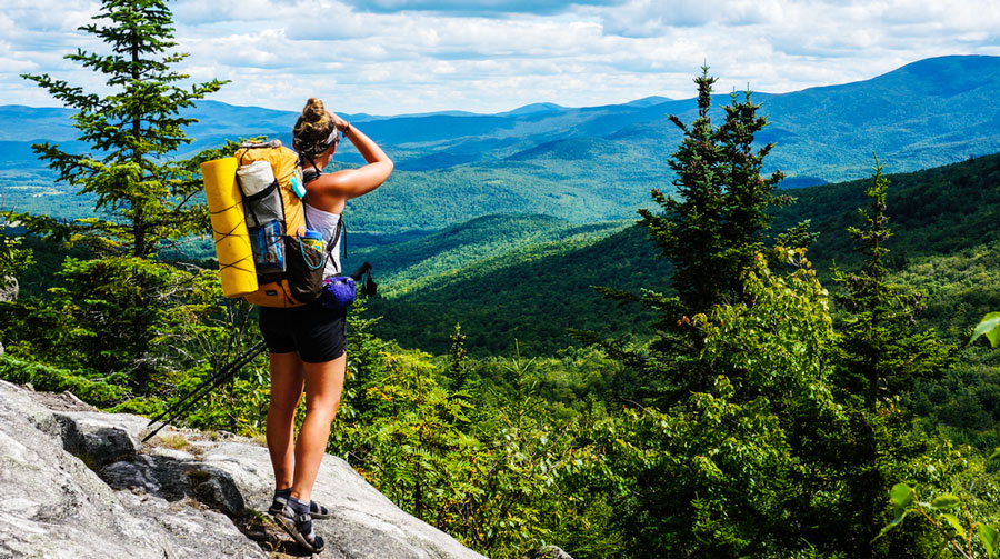 View of a hiker admiring the Appalachian Mountain Trails