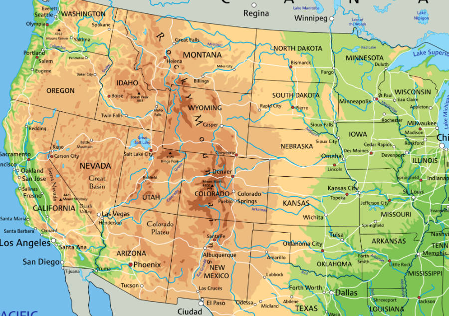 Map of the states the Rocky Mountains pass through