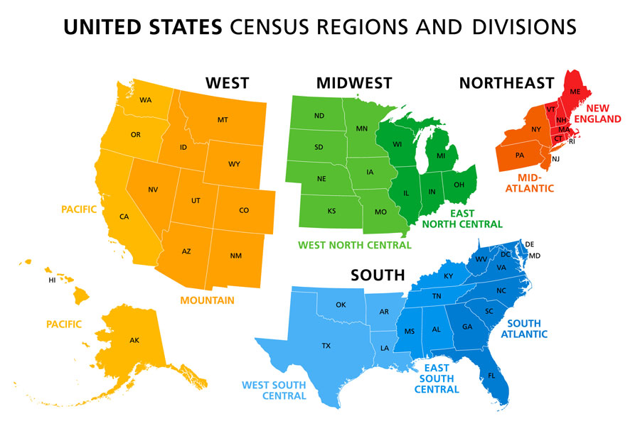 The United States map splits into census