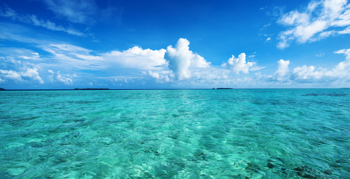 View of the clear water from Pacific Ocean and a clear blue sky