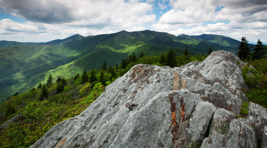 View of the highest peaks of the Appalachian Mountains