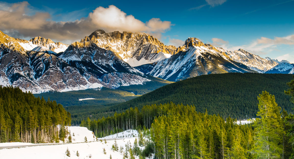 Scenic view of the Rocky Mountains during winter